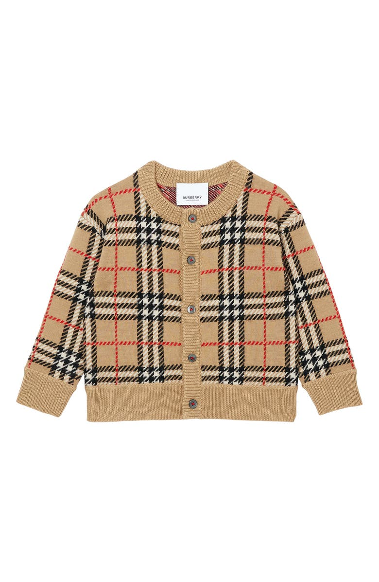 BURBERRY Edie Vintage Check Wool Cardigan, Main, color, ARCHIVE BEIGE