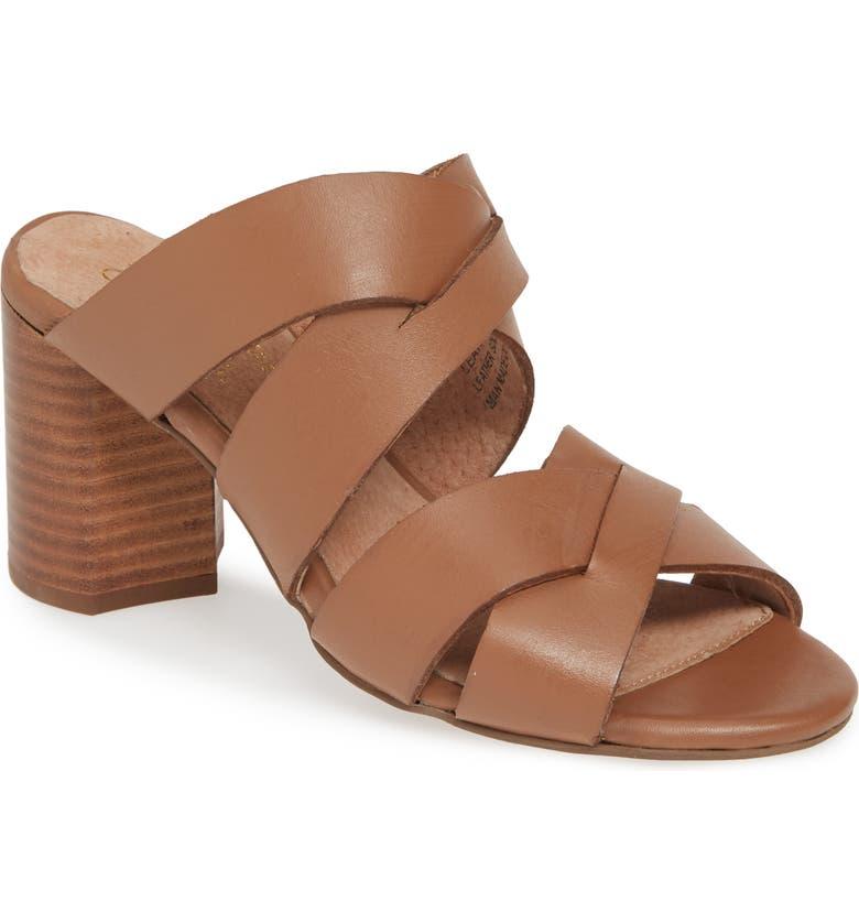 SEYCHELLES Embellishment Slide Sandal, Main, color, COGNAC LEATHER
