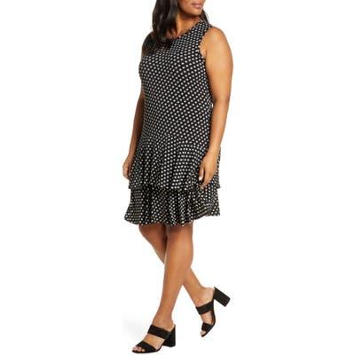 Plus Size Michael Michael Kors Sliced Dot Print Sleeveless Flounce Dress, Black