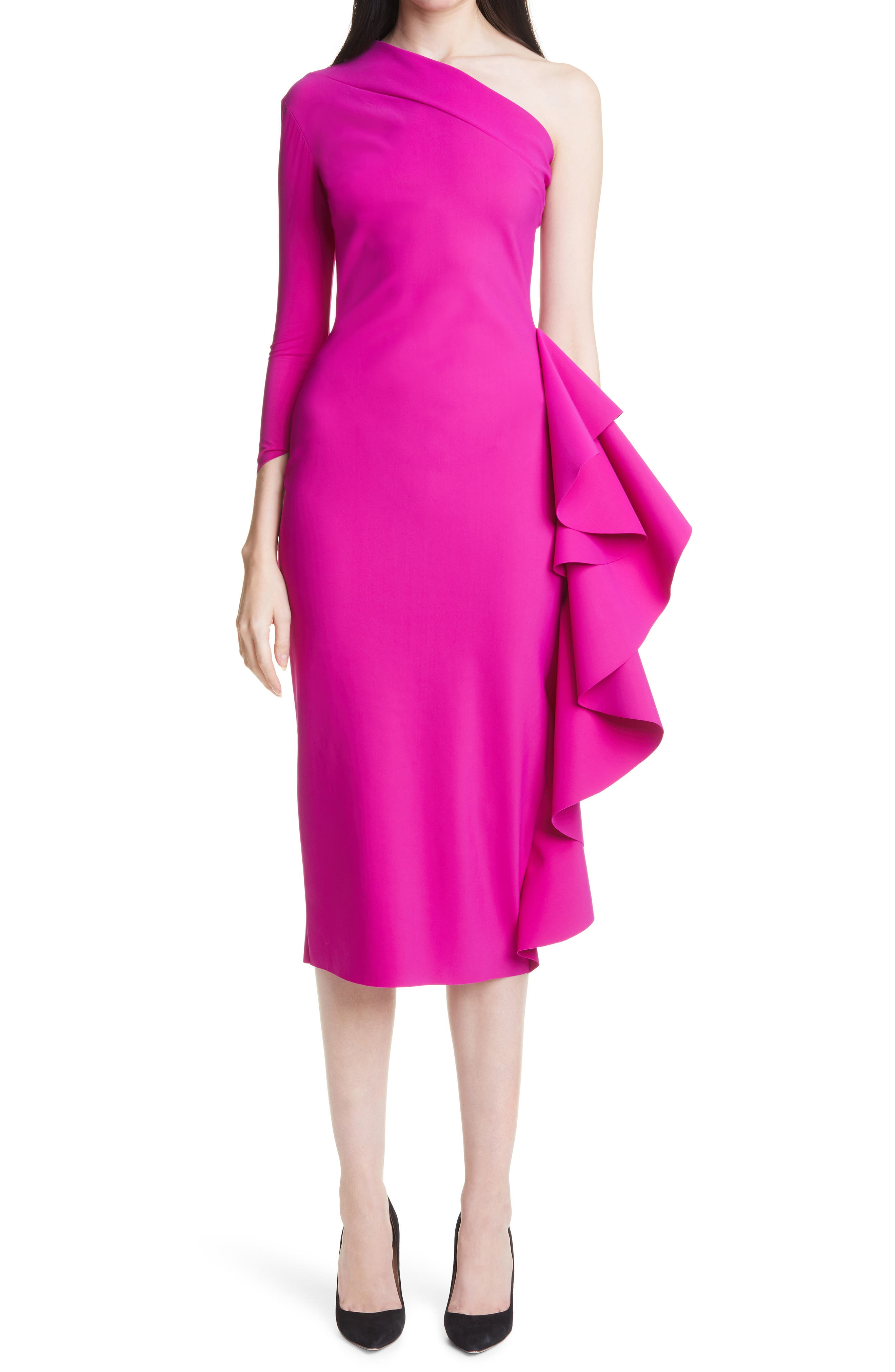 Sia Ruffle One-Shoulder Cocktail Dress