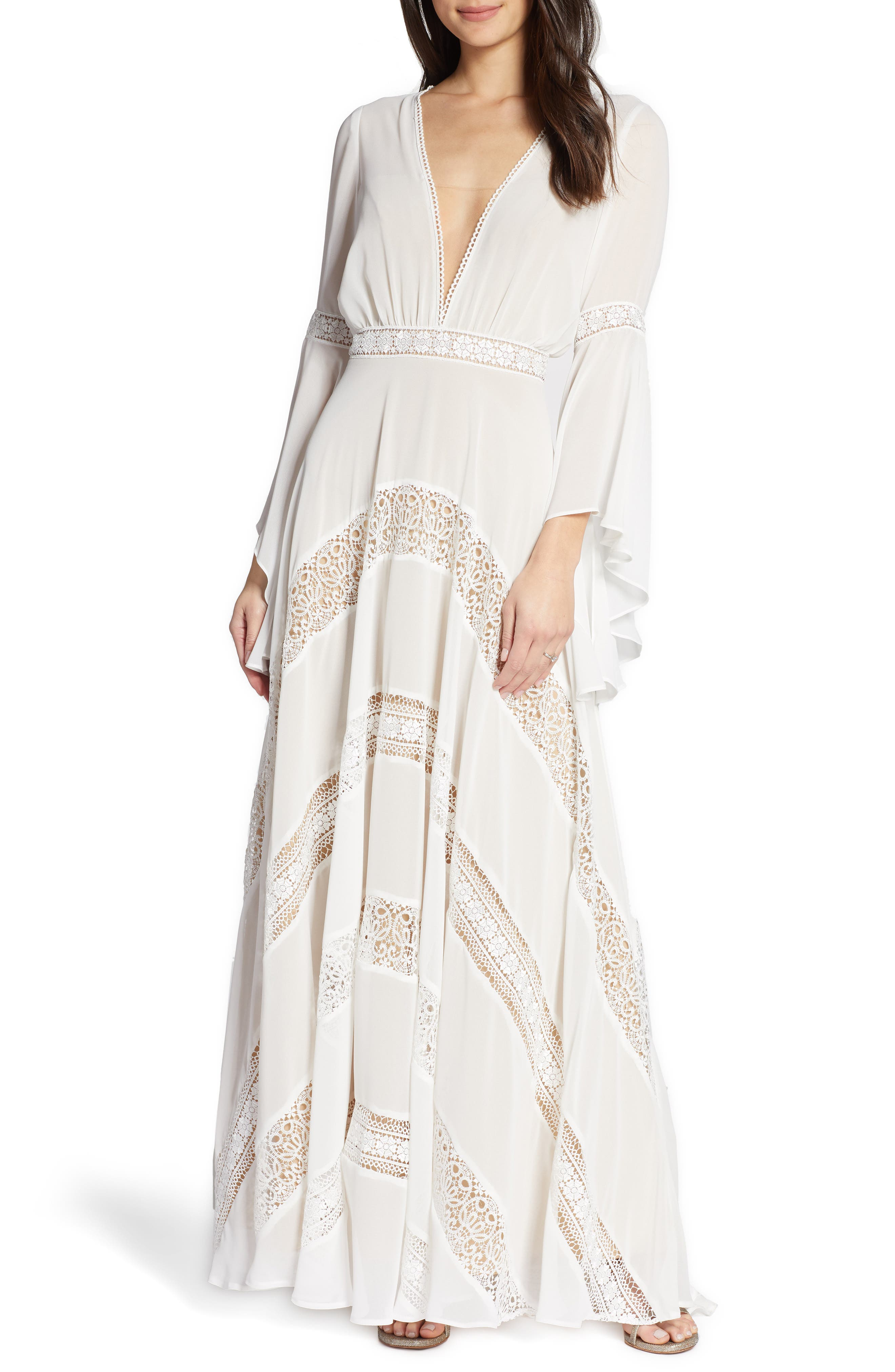 By Watters Chevron Lace Long Sleeve Wedding Dress, Ivory