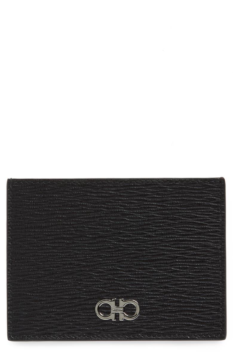 SALVATORE FERRAGAMO Large Textured Leather Card Case, Main, color, 001