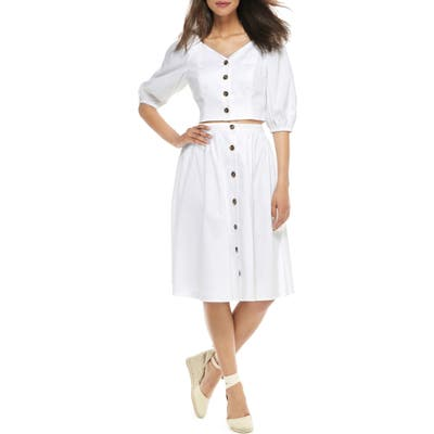 Gal Meets Glam Collection India Button-Up Two-Piece Dress, White