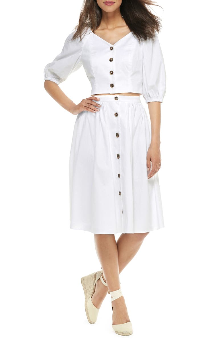 GAL MEETS GLAM COLLECTION India Button-Up Two-Piece Dress, Main, color, WHITE