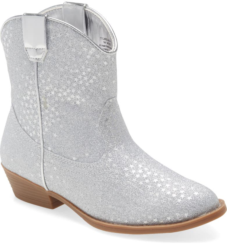 TUCKER + TATE Glitter Western Bootie, Main, color, SILVER MULTI FAUX LEATHER