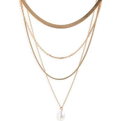 Halogen 4 Tier Imitation Pearl Necklace