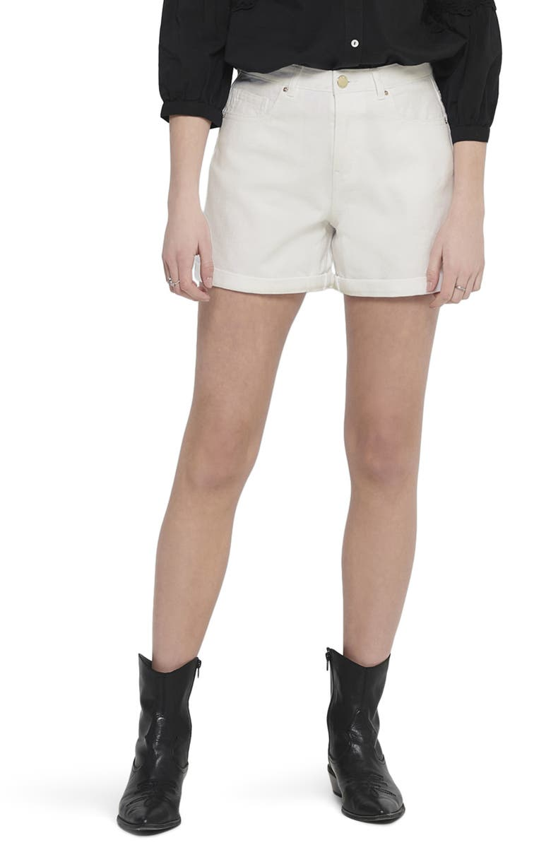 ONLY High Waist Cuffed Shorts, Main, color, WHITE