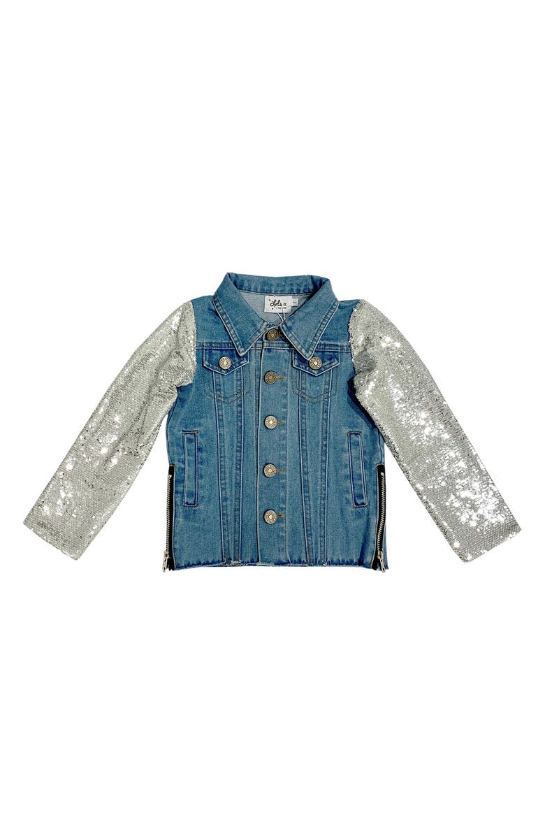 LOLA & THE BOYS Emoji Sequin Denim Jacket, Main, color, BLUE