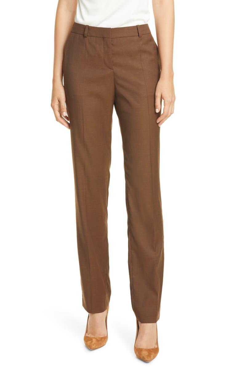 BOSS Titana Wool Trousers, Main, color, CARMEL
