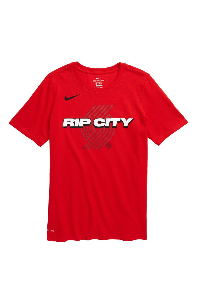 NIKE NBA Portland Trail Blazers Mantra Dri-FIT Graphic T-Shirt, Main, color, UNIVERSITY RED