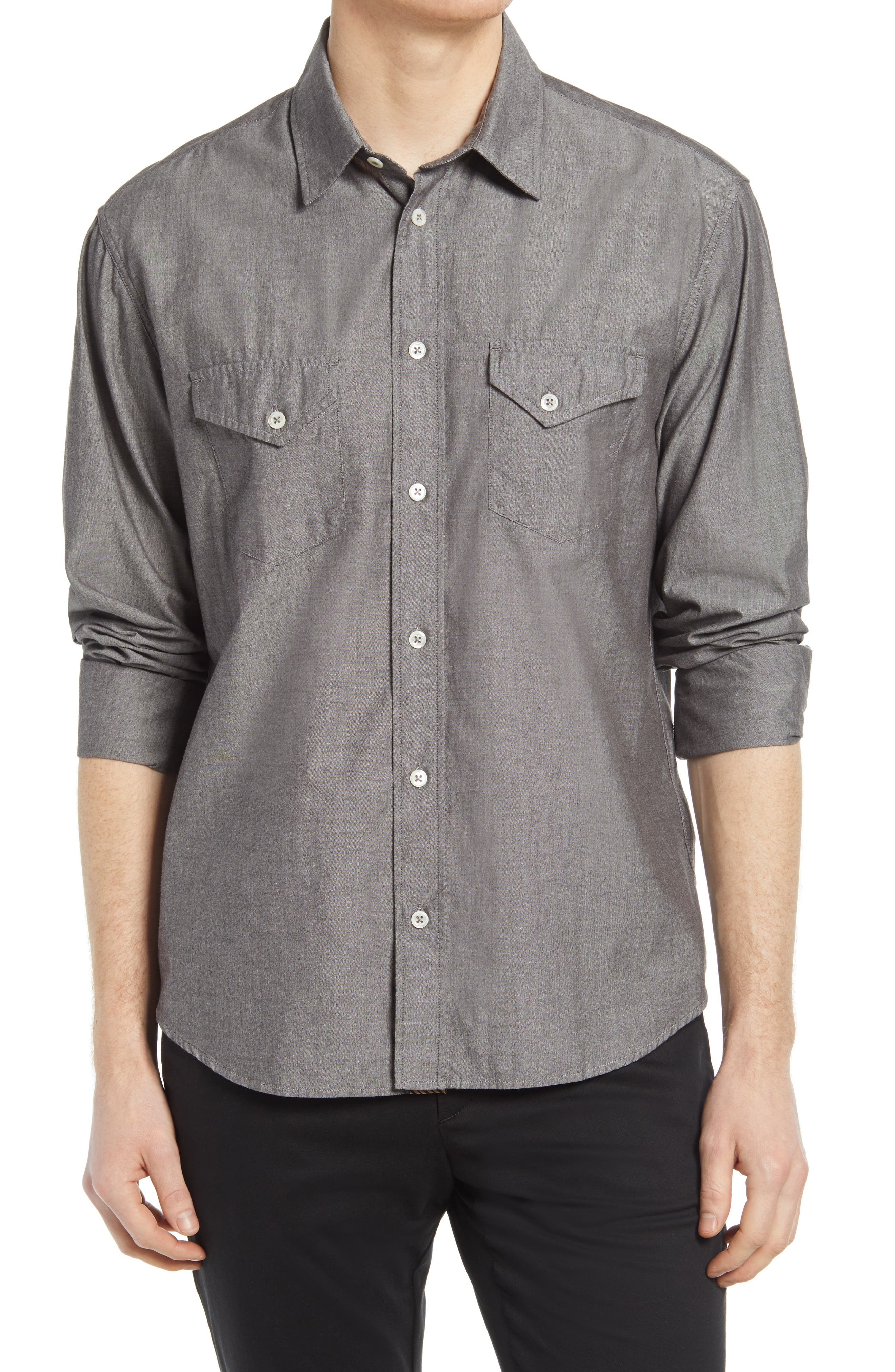 Chambray Western Button-Up Shirt