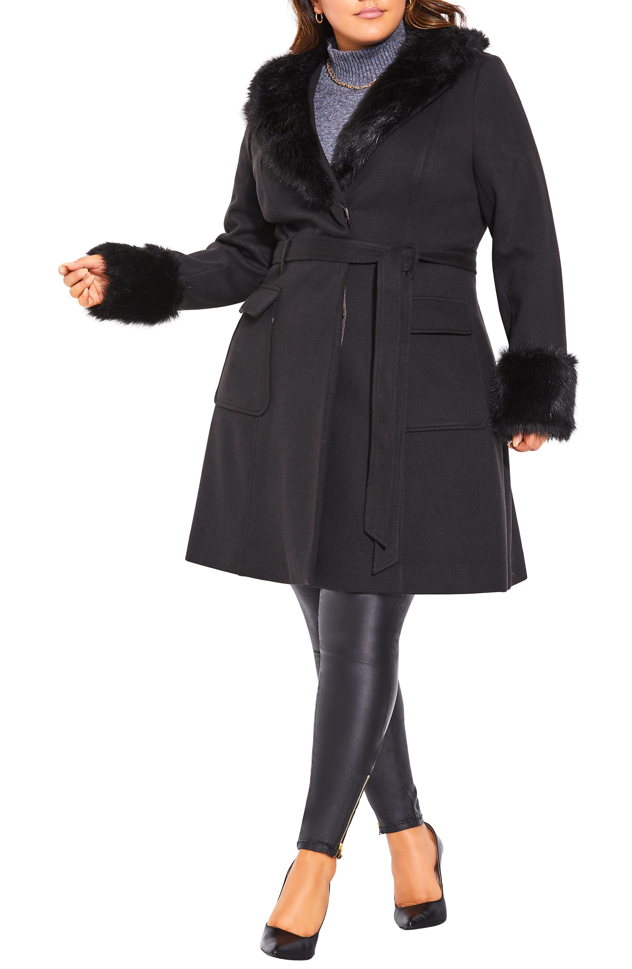 1950s Coats and Jackets History Plus Size Womens City Chic Make Me Blush Belted Coat With Faux Fur Trim Size Large - Red $189.00 AT vintagedancer.com