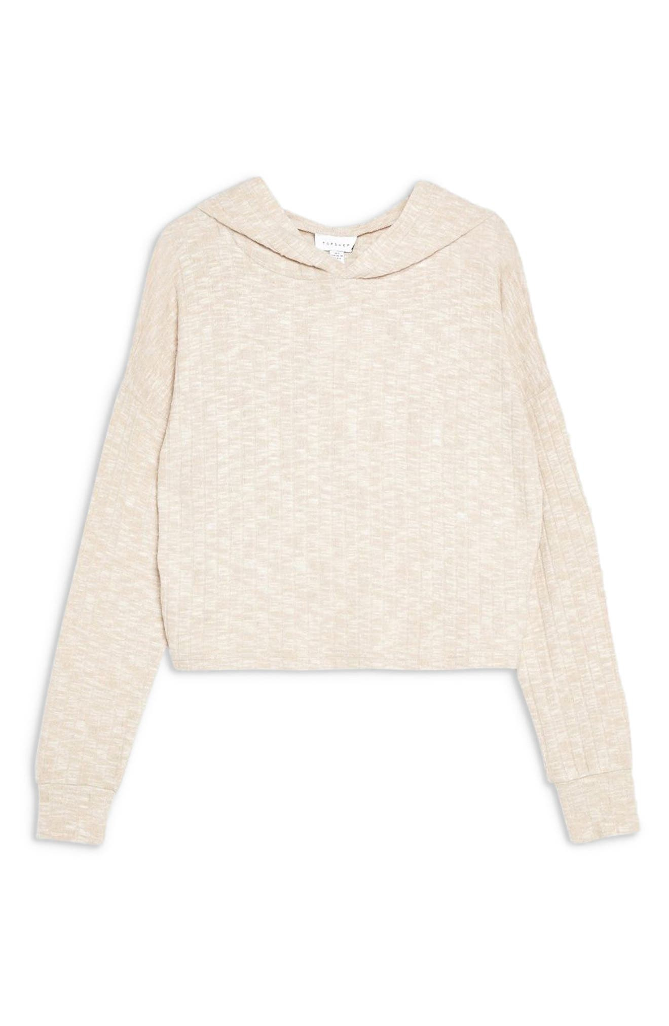,                             Ribbed Crop Lounge Hoodie,                             Alternate thumbnail 3, color,                             OATMEAL