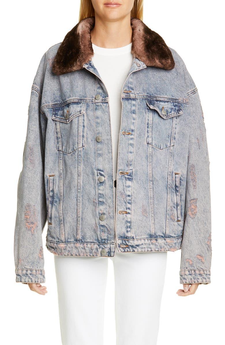 ALCHEMIST Rocky Denim Jacket with Genuine Orylag<sup>®</sup> Rabbit Fur Trim, Main, color, 650