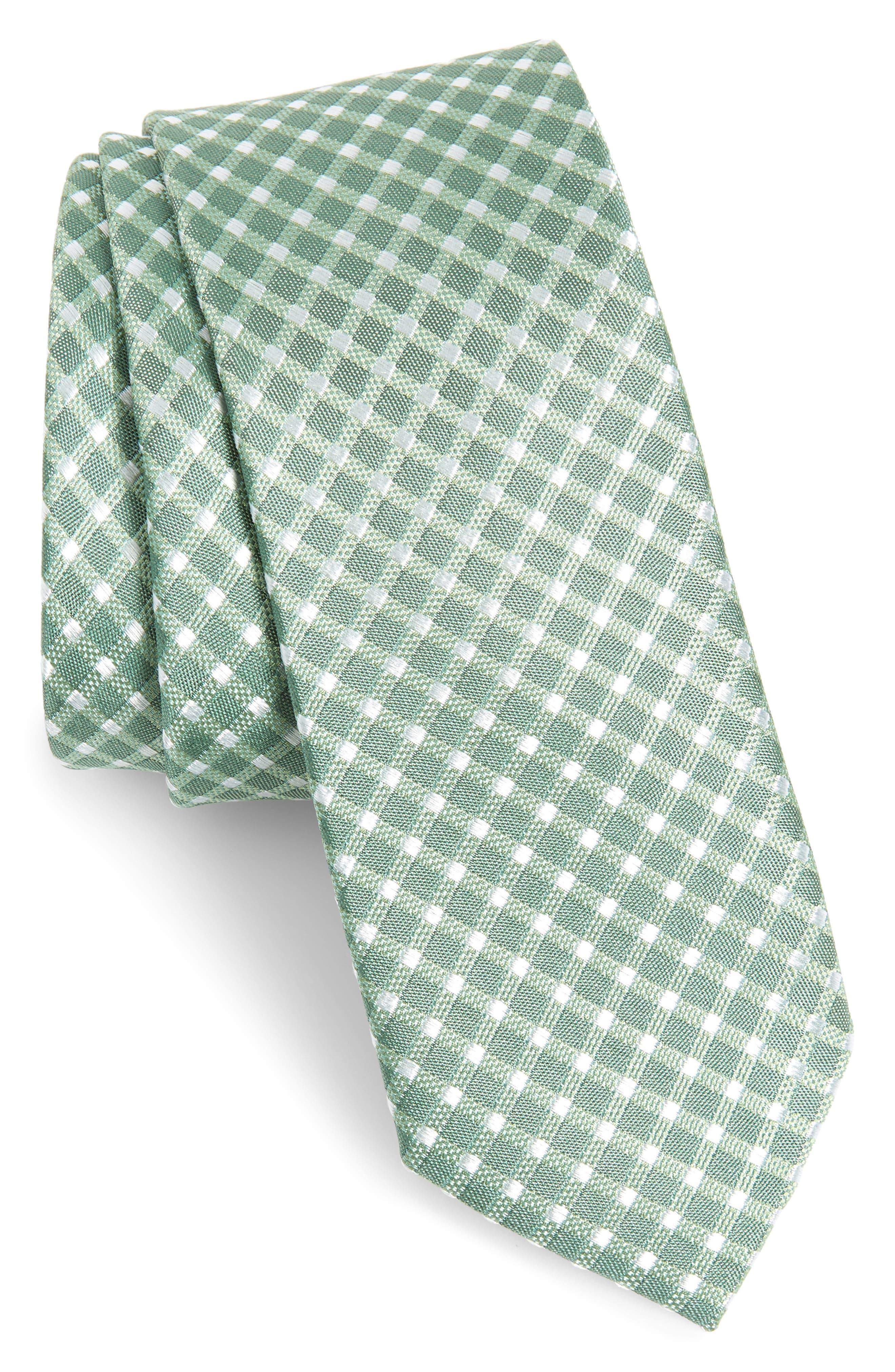 Steves Check Silk Blend Tie, Main, color, GREEN