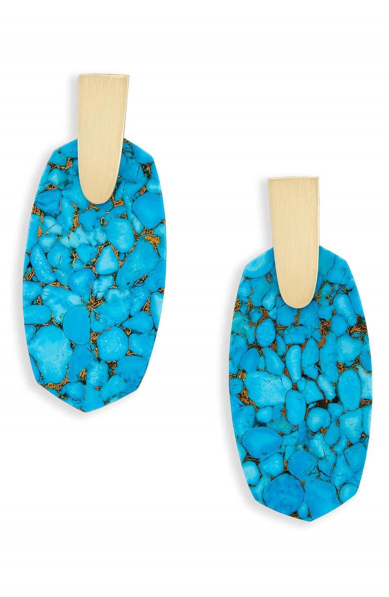 KENDRA SCOTT Aragon Drop Earrings, Main, color, BRONZE VEINED TURQUOISE/ GOLD