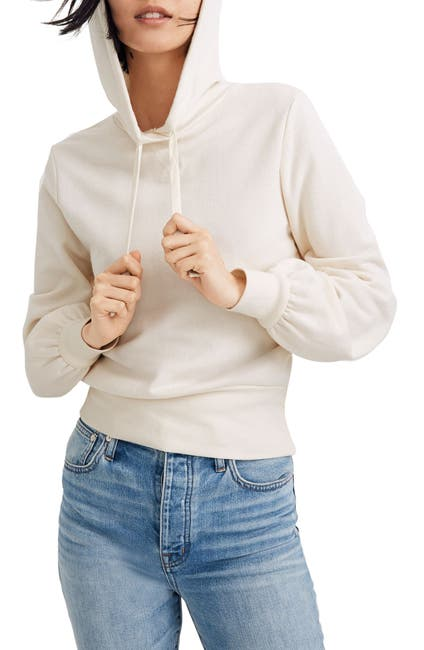 Image of Madewell Bubble Sleeve Crop Pullover Hoodie