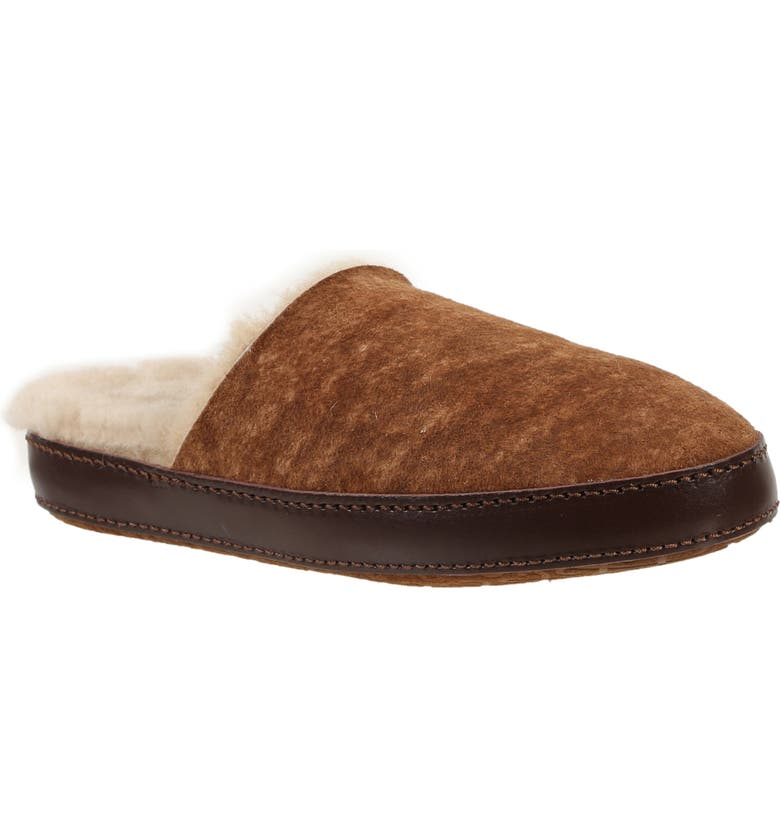ROSS & SNOW Linda Genuine Shearling Scuff Slipper, Main, color, STONE WASHED COGNAC