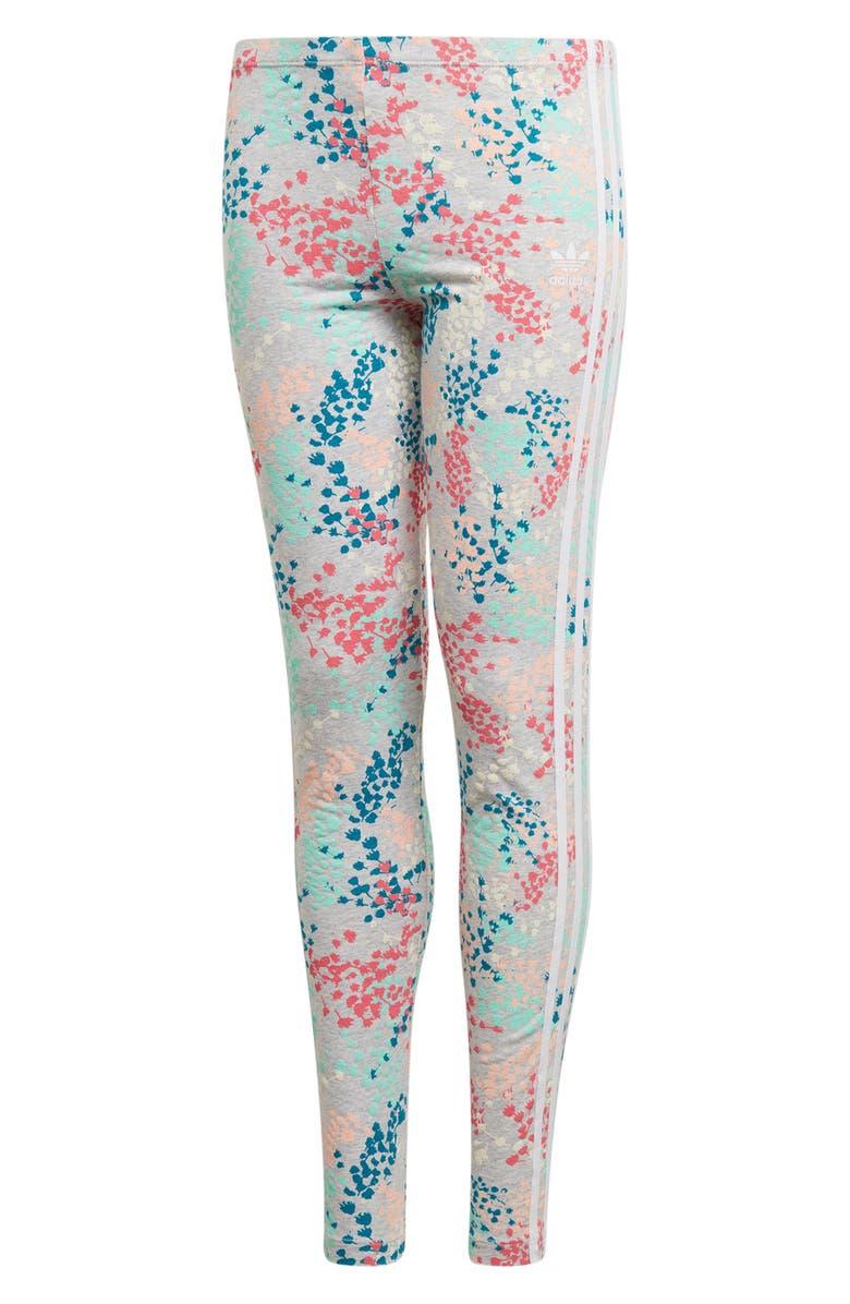 ADIDAS ORIGINALS Floral Terry Leggings, Main, color, MULTI/ WHITE