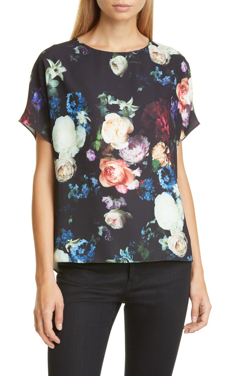 ADAM LIPPES Floral Print Crepe Blouse, Main, color, MULTI FLORAL