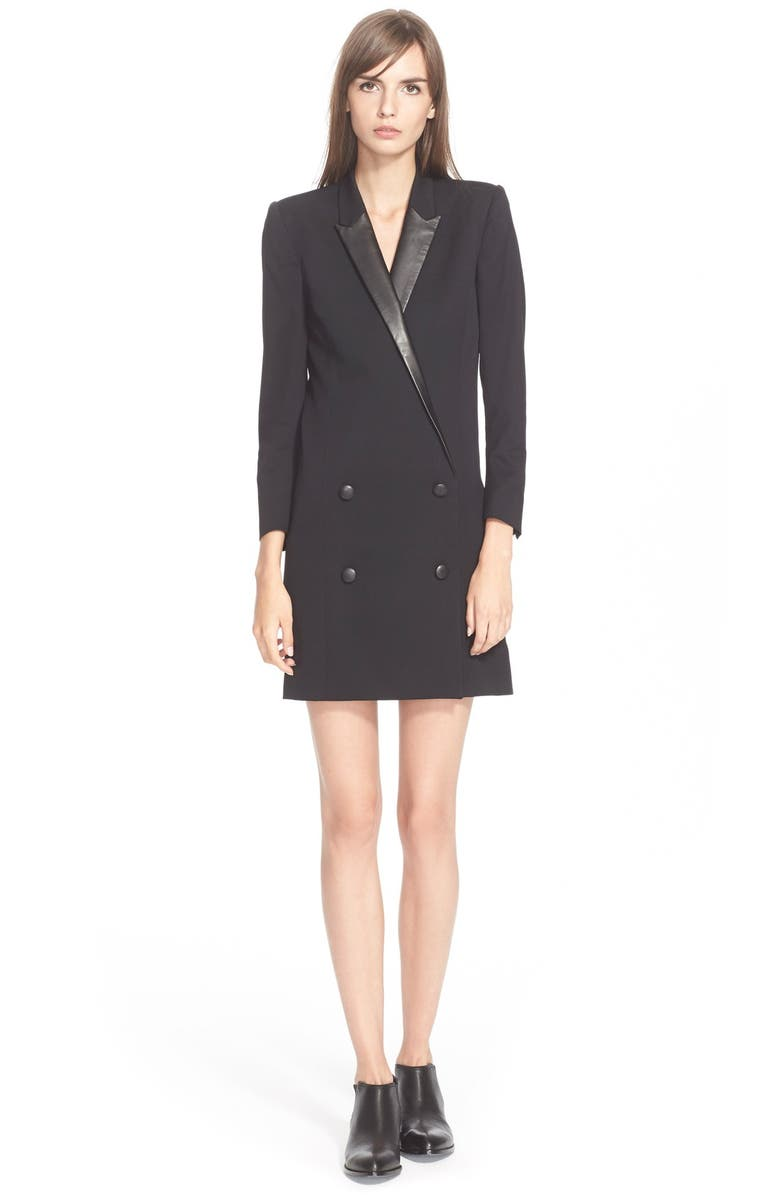 THE KOOPLES Stud Detail Leather Trim Shift Dress, Main, color, 001