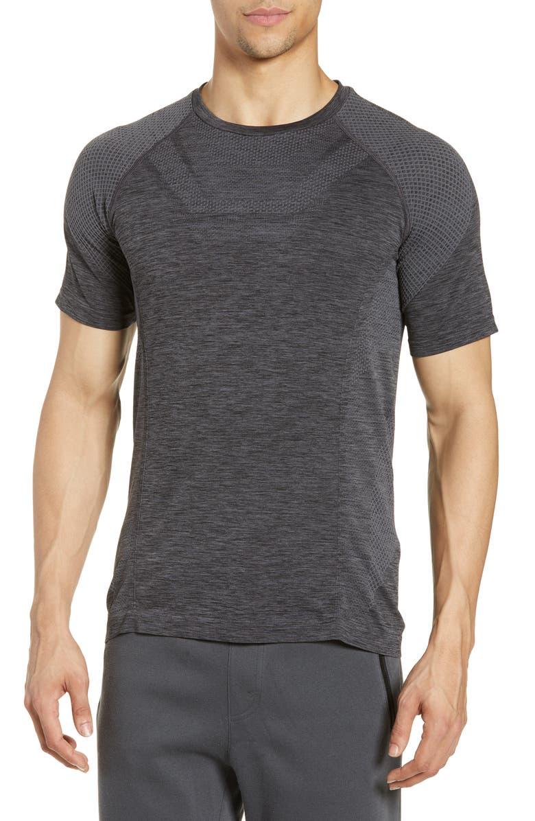 ALO Amplify Seamless Technical T-Shirt, Main, color, BLACK HEATHER