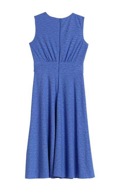 Image of London Times Sleeveless Eyelet Midi Dress
