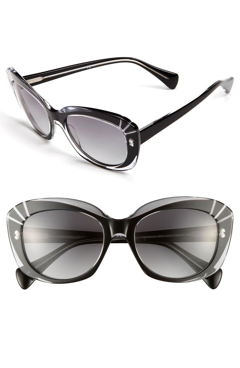 ALEXANDER MCQUEEN 54mm Starburst Inset Sunglasses, Main, color, 001