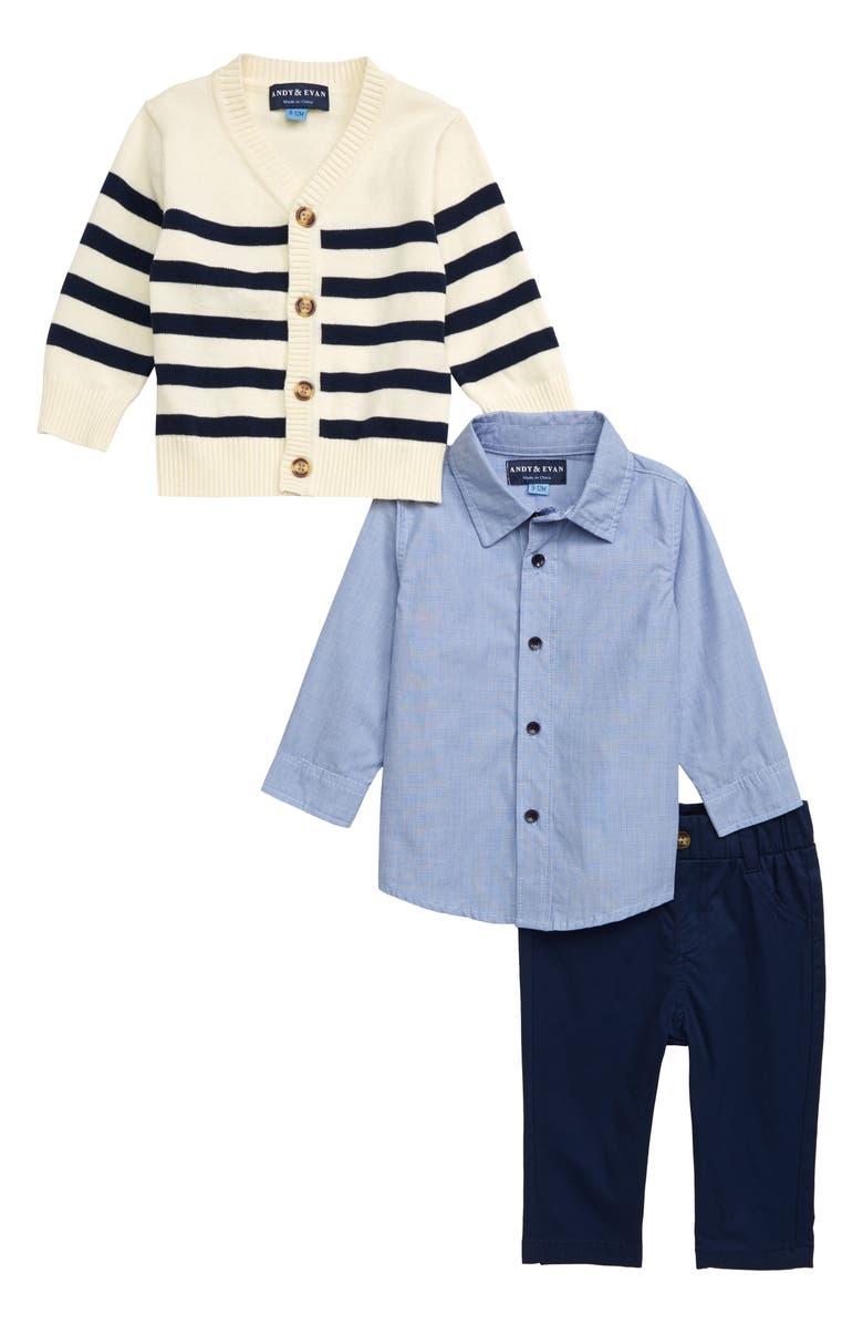 Andy Evan Stripe Cardigan Shirt Pants Set Baby