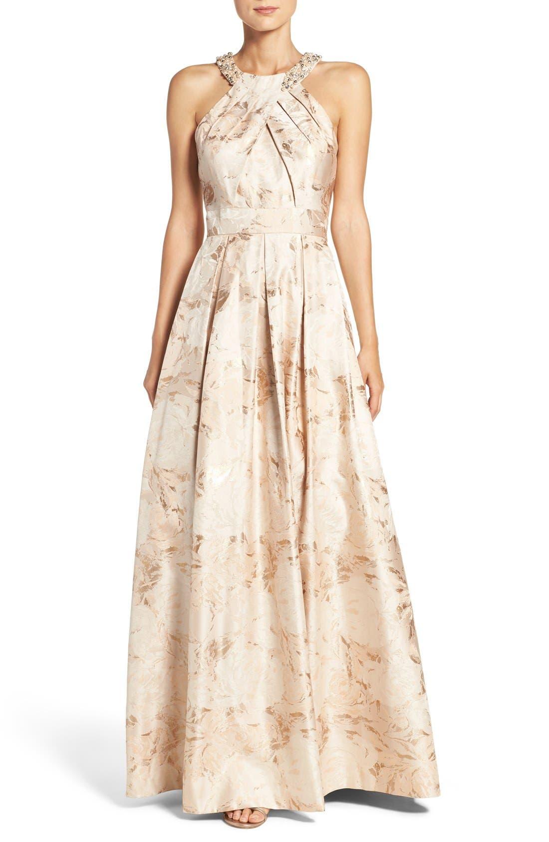 Embellished Floral Jacquard Fit & Flare Gown