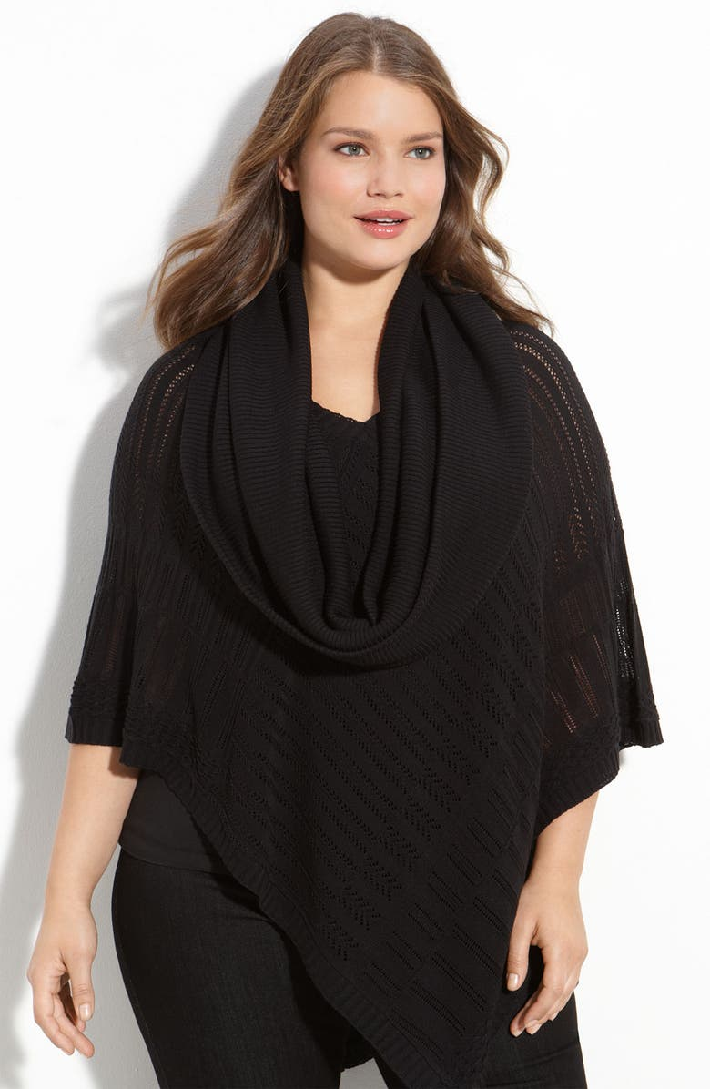 ONE A Crochet Knit Poncho with Cowl, Main, color, Black