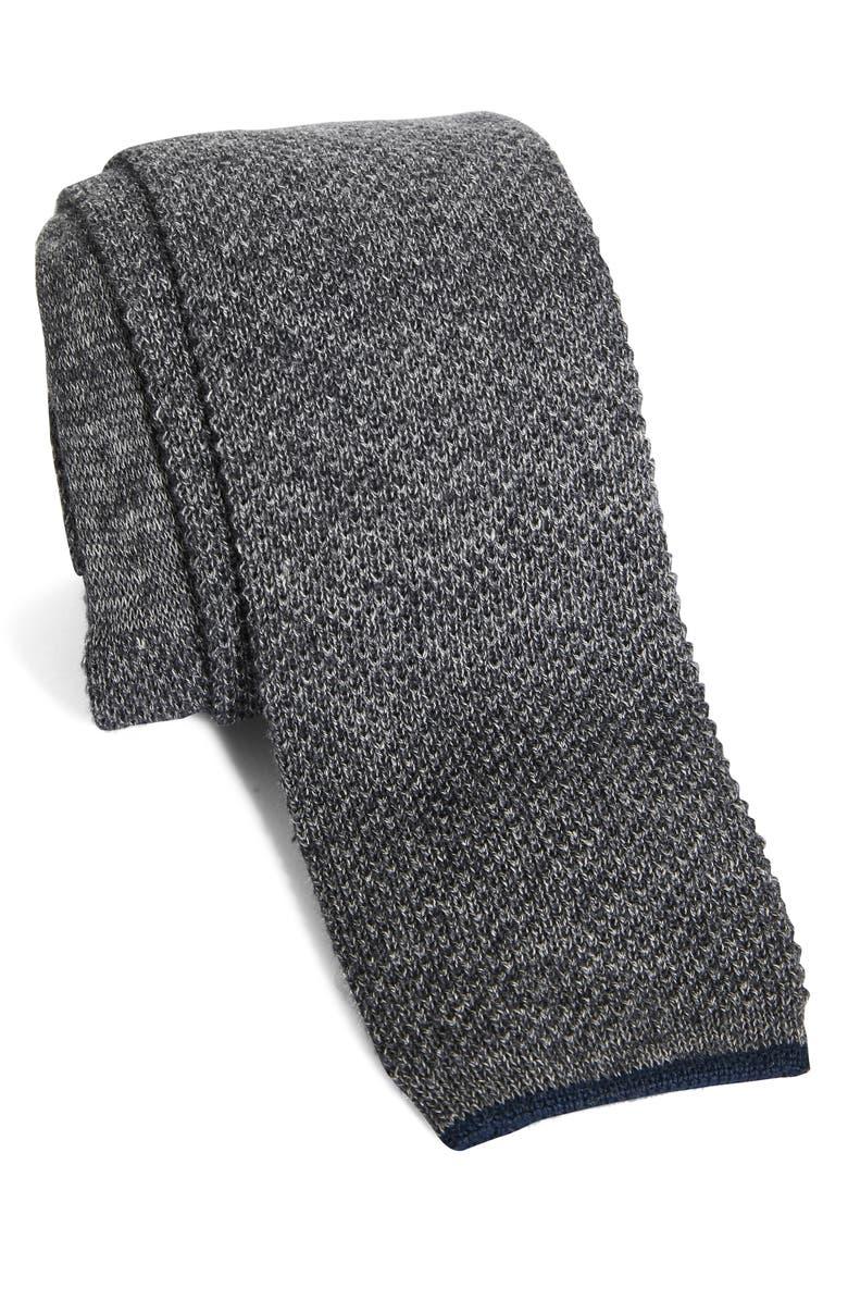 BRUNELLO CUCINELLI Knit Cotton Tie, Main, color, GREY