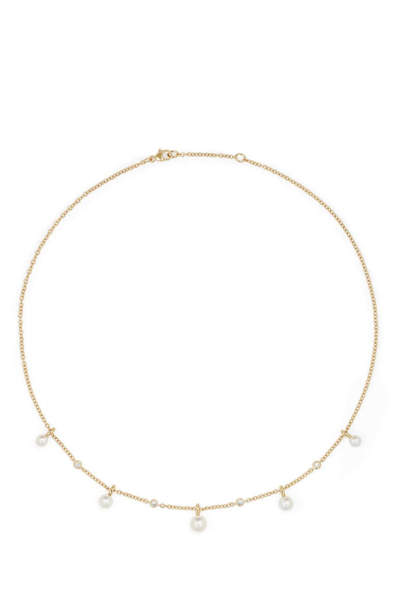 DAVID YURMAN Petite Perle Pearl & Diamond Fringe Necklace in 18k Gold, Main, color, 100