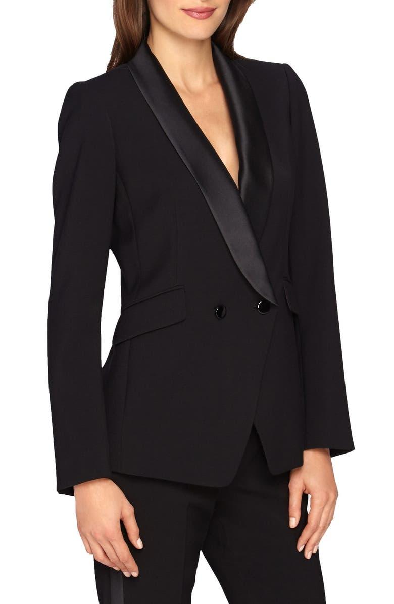 CATHERINE CATHERINE MALANDRINO 'Stephen' Double Breasted Tuxedo Jacket, Main, color, 008