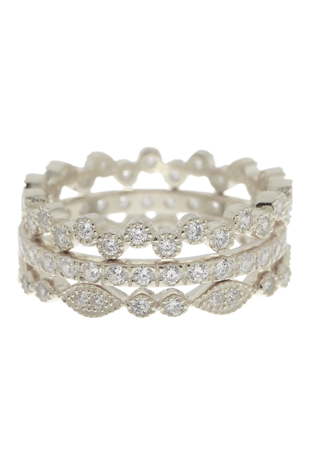 Image of Sterling Forever Sterling Silver Cubic Zirconia Stackable Ring Set