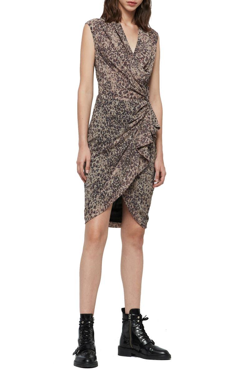 ALLSAINTS Cancity Patch Dress, Main, color, CAMEL BROWN