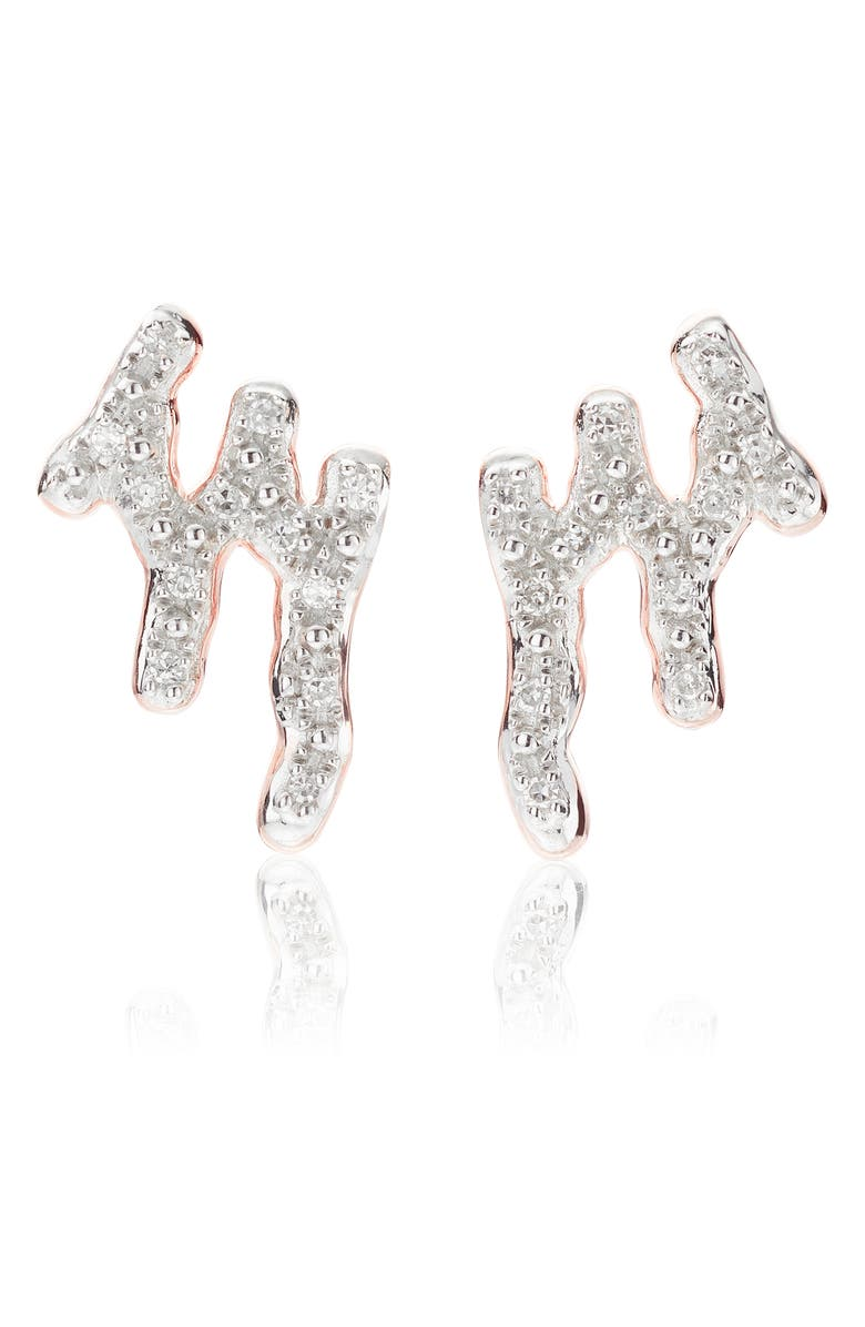 MONICA VINADER Riva Waterfall Diamond Stud Earrings, Main, color, ROSE GOLD/ DIAMOND