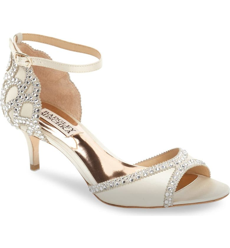 BADGLEY MISCHKA COLLECTION Badgley Mischka 'Gillian' Crystal Embellished d'Orsay Sandal, Main, color, IVORY SATIN