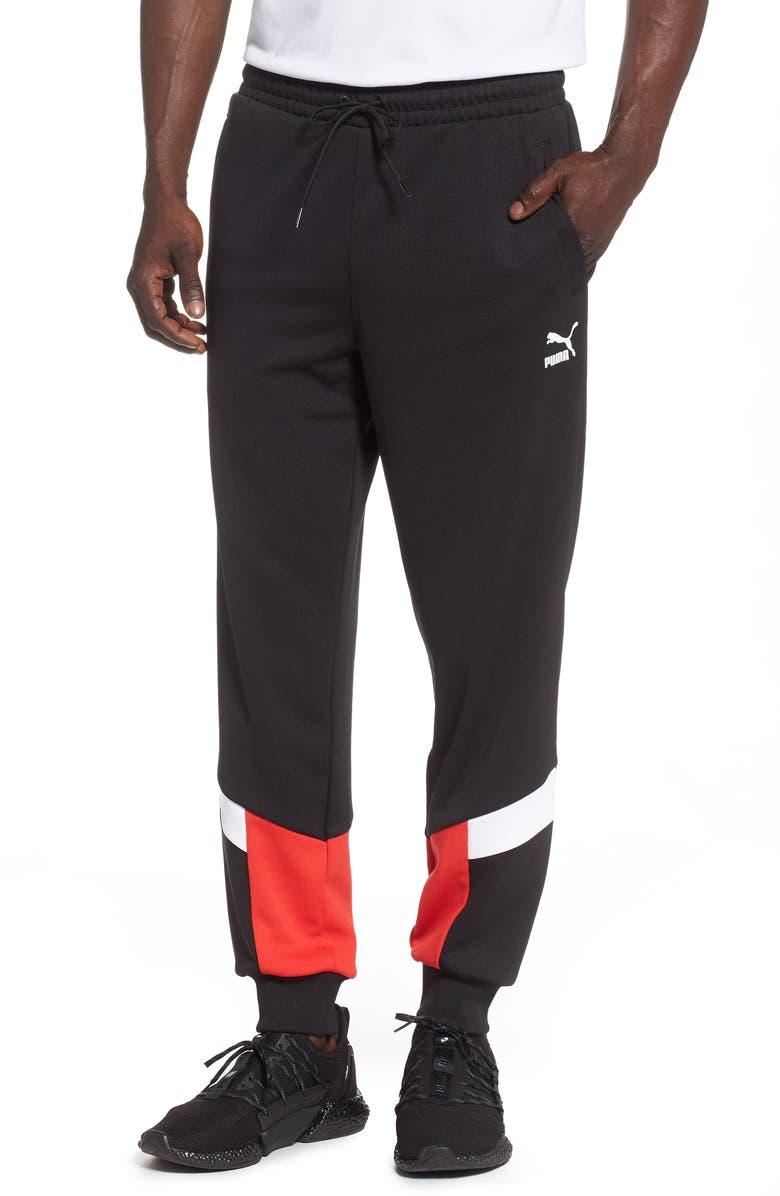 PUMA Iconic MCS Mesh Panel Track Pants, Main, color, PUMA BLACK
