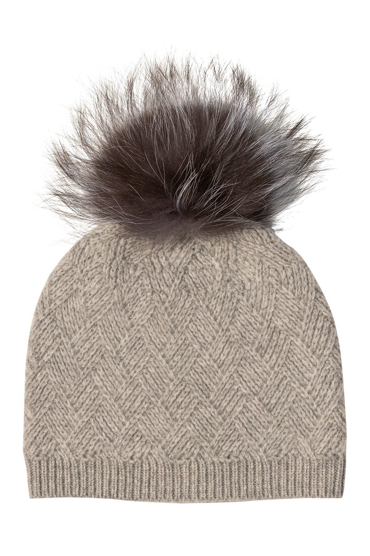 Image of AMICALE Cashmere Diamond Stitch Knit Hat with Genuine Fox Pom