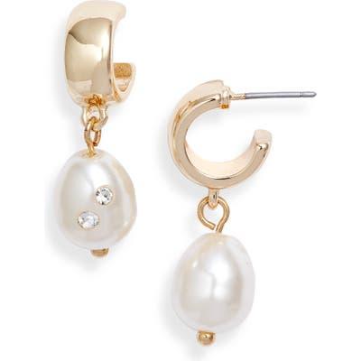 Something Navy Imitation Pearl Huggie Hoop Earrings (Nordstrom Exclusive)