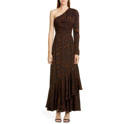 Erdem One Shoulder Tiered Hem Gown, US / 8 UK - Brown