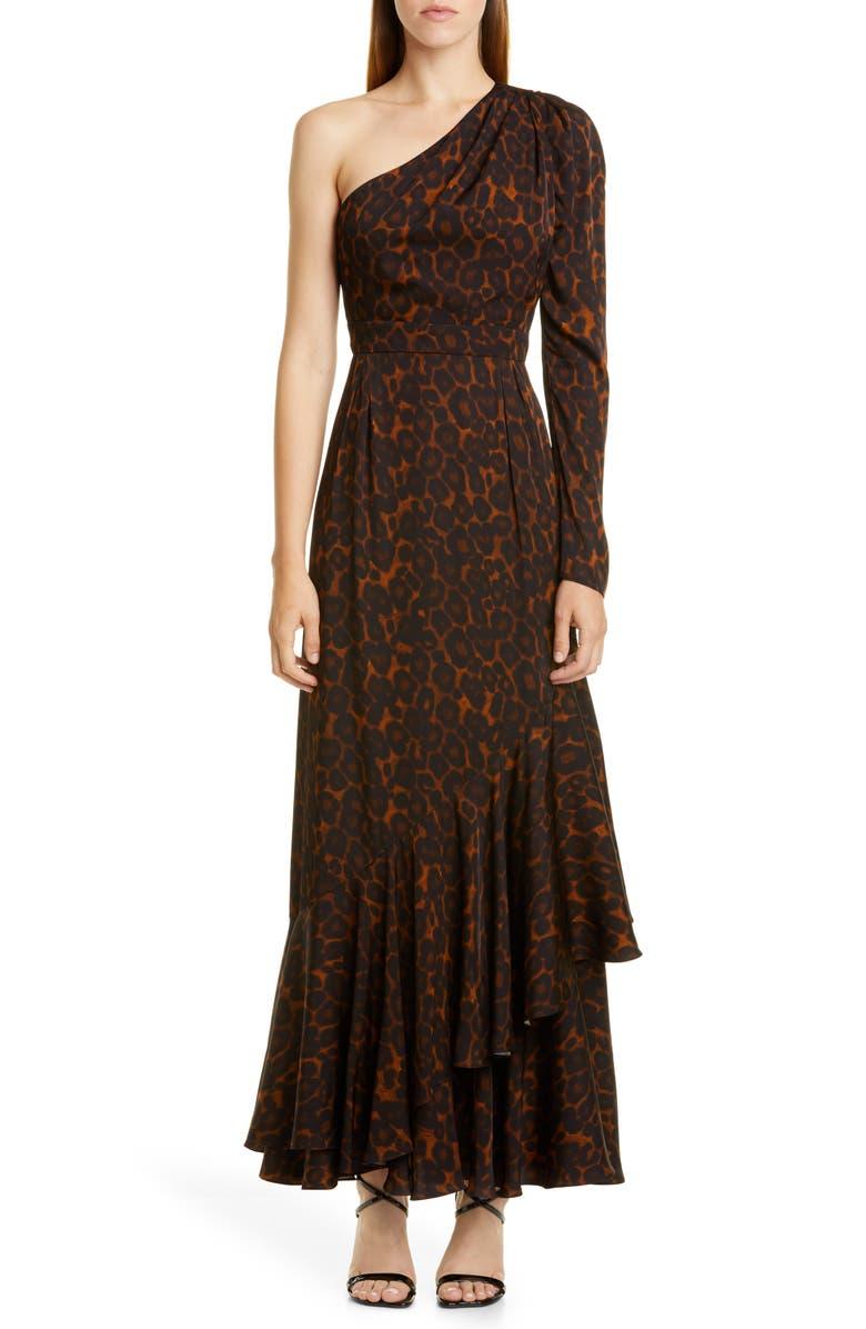 ERDEM One Shoulder Tiered Hem Gown, Main, color, CAMEL / BROWN