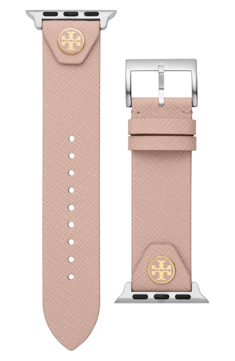 TORY BURCH The Studs Leather Apple Watch<sup>®</sup> Strap, Main, color, BLUSH PINK