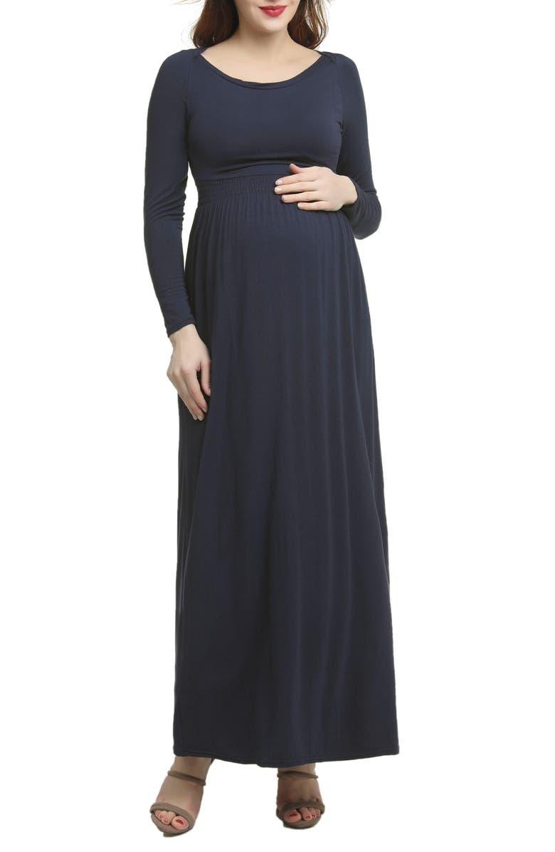 KIMI AND KAI Jackie Empire Waist Maxi Dress, Main, color, STEEL BLUE