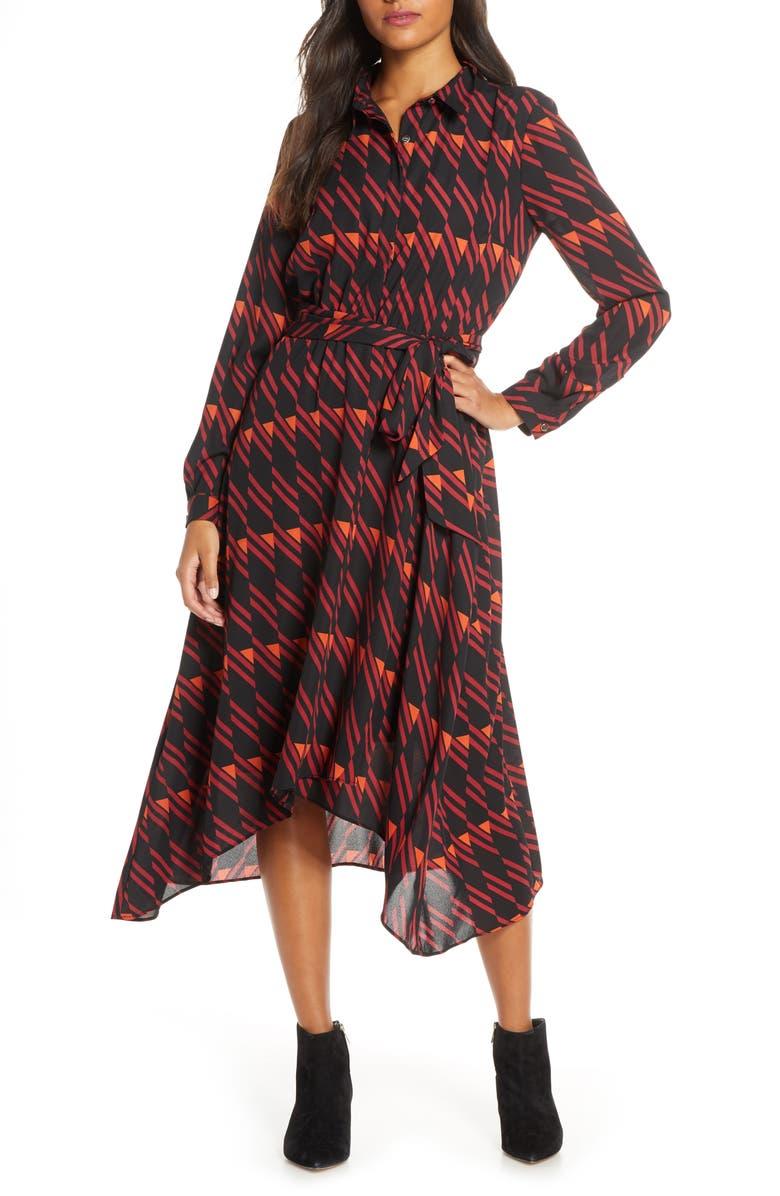 DONNA RICCO Long Sleeve Geo Print Shirtdress, Main, color, BLACK/ WINE