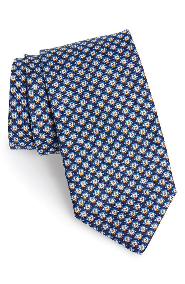 SALVATORE FERRAGAMO Igloo Penguin Print Silk Tie, Main, color, F. MARINO