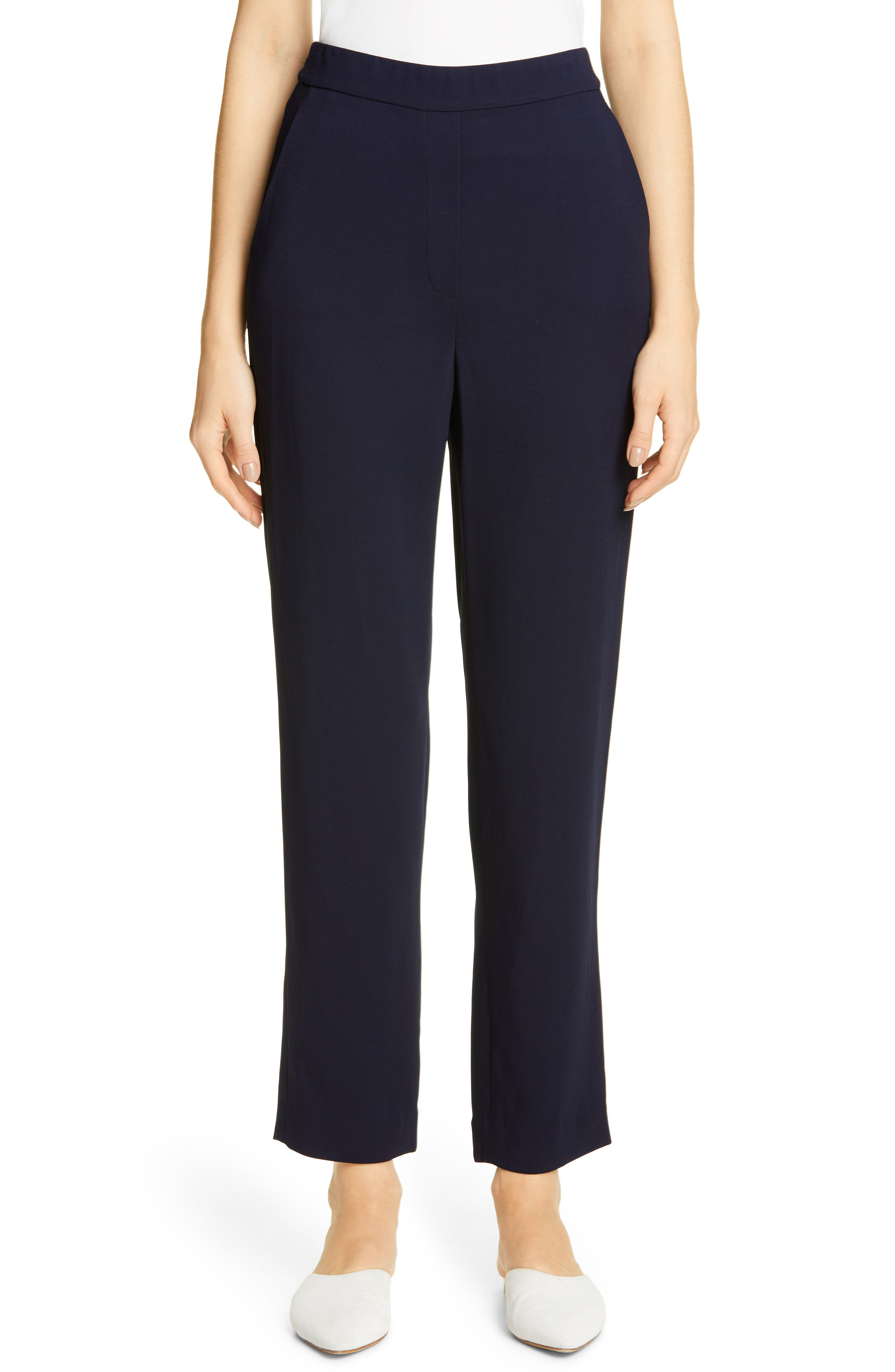 These stylish pants boast a more relaxed, modern fit with a partially elasticized waist and straight, ankle-cut legs draped in pebbly stretch cady. Style Name: St. John Collection Stretch Cady Crop Pants. Style Number: 5819023. Available in stores.