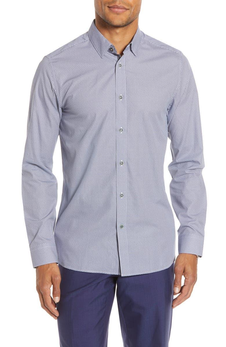 TED BAKER LONDON Cedar Slim Fit Geometric Floral Button-Up Shirt, Main, color, NAVY