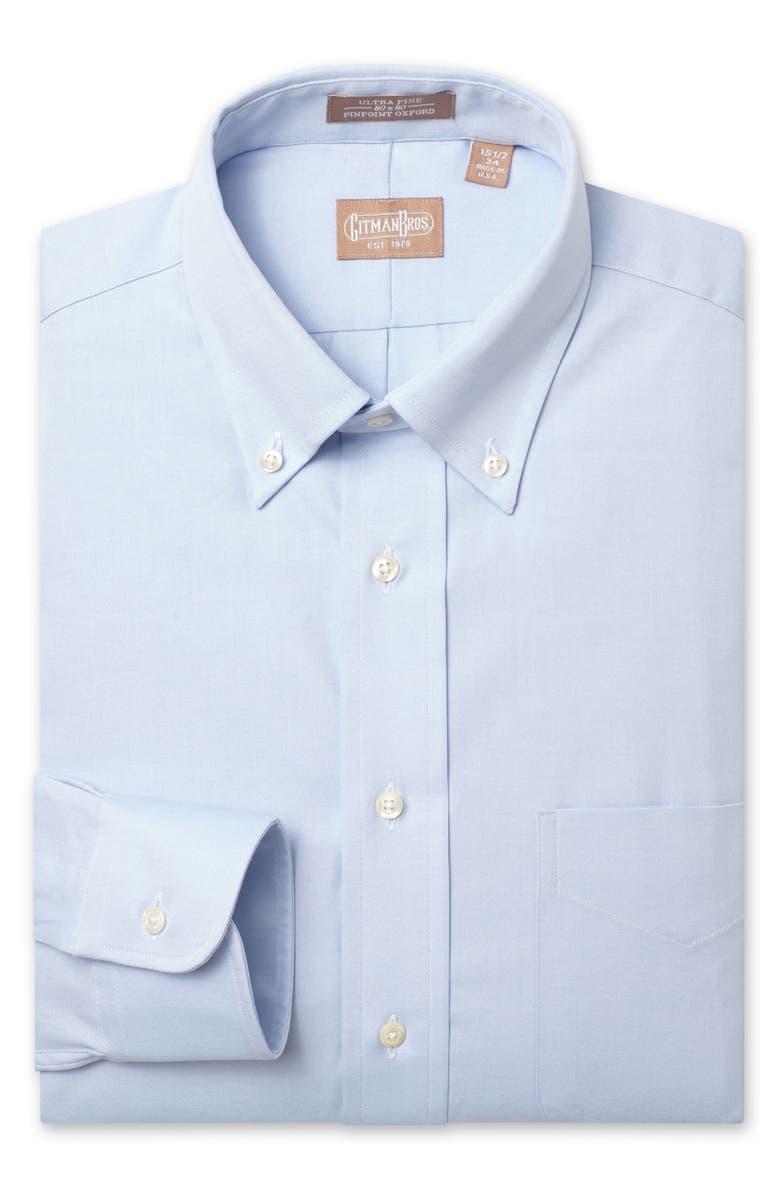 GITMAN Regular Fit Pinpoint Cotton Oxford Button Down Dress Shirt, Main, color, LIGHT BLUE